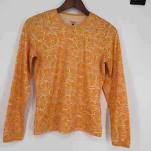 Patagonia Capilene Silkweight Base Layer Floral Top Womens Size Small Yellow