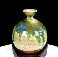 "TAYLOR SIGNED STUDIO ART POTTERY WHEELTHROWN DRIP GLAZE STONEWARE 3.75"" BUD VASE"