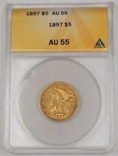 1897 US Half Eagle $5 Liberty Head Gold Coin ANACS AU-55