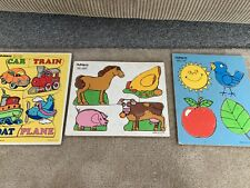 VINTAGE LOT OF 3 PLAYSKOOL Wooden Puzzles Free Shipping