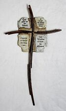 "Nib Serenity Prayer 16"" Hanging Wall Cross Bronze Metal & Stone Resin By Roman"