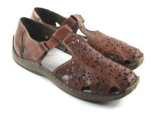 Rieker Brown T-Strap Leather Perforated Comfort Shoes Women's Sz EU 40 / 8.5 - 9