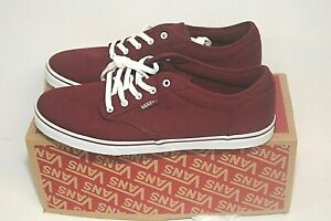 Vans Atwood Low Canvas Burgundy/White Size 10 Women's Snake Board Sneakers