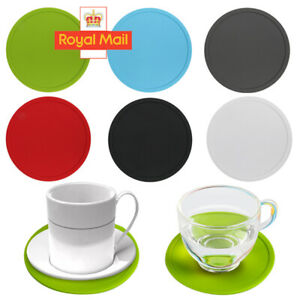 Set of 4/8  Silicone Rubber Coasters Black Non Slip Round for Coffee Mugs Drinks
