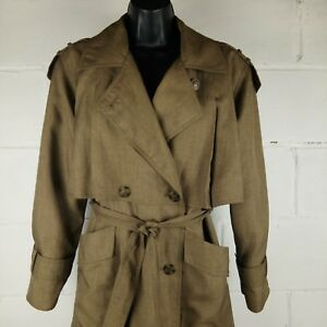 Gallery Petite Trench Coat Women Size 6 Brown Lining