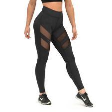 Damen Leggings Sport Yoga Stripe Fitness Leggins Legging Jogginghose Hose Black