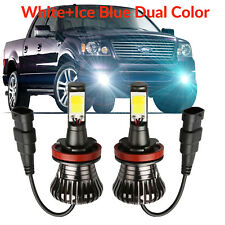 DuraFlux H8 H11 LED Fog Light CREE Bulbs White+Ice Blue Dual Color 5600LM 160W