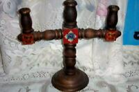 VINTAGE TURNED WOOD HP TOLE CANDELABRA FRENCH FARMHOUSE RUSTIC MADE IN MEXICO