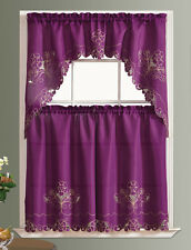 READY IN US. ROSE GARDEN. 3pcs CHAIN EMBROIDERY kitchen curtain set PURPLE color