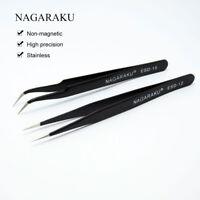 NAGARAKU® 2pcs/set Straight Curl Stainless Lash Tweezers Pincet False Eyelash