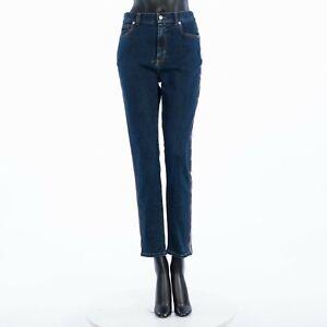 ALEXANDER MCQUEEN 740$ Fitted Denim Trousers In Vintage Wash Indigo