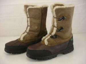 Womens sz 7.5 B M Ralph Lauren Brown Quintessa Shearling Fur Toggle Winter Boots