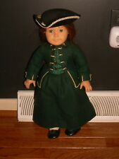 """American girl doll """"Felicity"""" in colonial garb with hat older doll"""