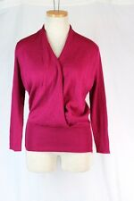 LIMITED Wool Acrylic Wrap Sweater MEDIUM Berry Pink Ribbed 3/4 Length Sleeves