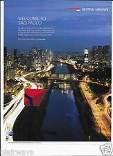 BRITISH AIRWAYS 2015 WELCOME TO SAO PAULO BRAZIL DIRECT FROM LONDON HEATHROW AD