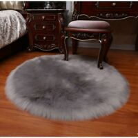 Thicken Faux Fur Wool Cushion Plush Chair Seat Set Pad Carpet Pads Winter Round