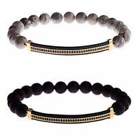 Men Women Micro Pave Gold Plated Long Strip Beads Bracelets Lava Landscape Stone