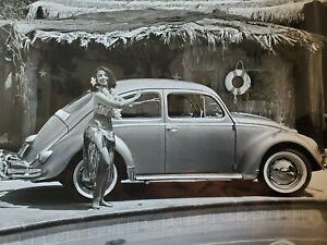 "Vintage 1960's Volkswagen by Pool w/ Hula Dancer 8""x10"" B&W Photo VW Bug Beetle"