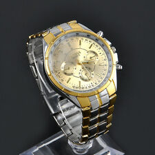 Stylish Men's Date Luxury Gold Dial Stainless Steel Analog Quartz Wrist Watch TR