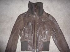 New Look real leather jacket, size 10, brown, zipped, bomber