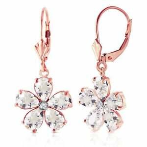 14K Solid Rose Gold Leverback Gemstone Earrings w/ Rose Topaz & Diamond