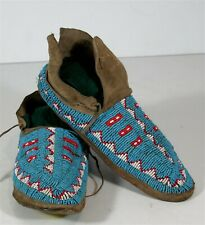 1880s PAIR NATIVE AMERICAN ARAPAHO INDIAN BEAD DECORATED BUFFALO HIDE MOCCASINS