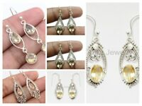 Natural Citrine 925 Sterling Solid Silver Earrings Traditional Mothers Day Gift