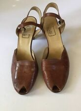 Vintage Leather Peep Toe Heels 1970s Bandolino Made In Italy Size 10 Narrow