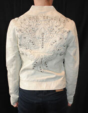 NWT ARCHAIC by AFFLICTION womens studded faux leather MOTO JACKET ivory STUDS *S