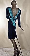 1940s Style Evening Dress Teal Blue Velvet Plunging Back Sz 12 #1163
