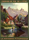 "Vintage Illustrated Travel Poster CANVAS PRINT France Mayenne 24""X18"""