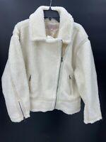 Laurie Felt Womens XL Ivory Faux Shearling Zip-Front Moto Jacket NWOT