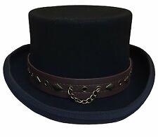 100% Wool Victorian Western STEAMPUNK Costume Top Hat With Lather Band and Chain