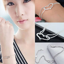 Sterling Silver plated  Heart Love Bracelet  Silver Chain Women Jewelry  LT