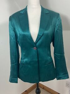 PRINCIPLES  Size 10 Blazer Suit Jacket Green Satin Style Fitted Shiny