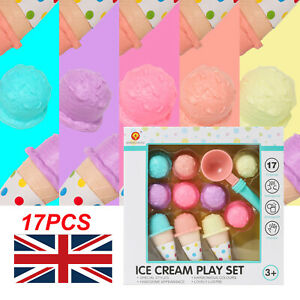 17Pcs Kids Ice Cream Play Set Pretend Play Cones Scoops Food Home Toy Playset