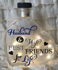 "LED 6"" Glass Light Up Heart Bottle Lamp Husband And Wife Best Friends GIFT"