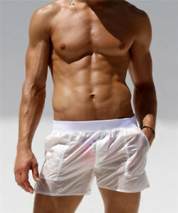 Mens See Through Swim Shorts Elastic Quick Dry Trunks Boxer Surf Swimwear Beach