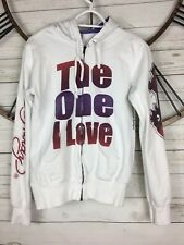 ED HARDY Hoodie Dedicated To The One I Love Rose Print Graphic Sweater Womens M
