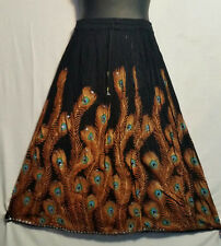 Women's Clothing Long Rayon Skirt Sequin Gypsy Hippie Black Orange Free Size