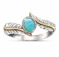Silver and Turquoise with Feather design w/ gold colored trim ring