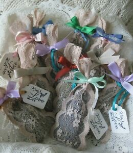 Hand Made Petite DRIED LAVENDER SACHETS Vintage Lace Bag - 6 pc Fragrant