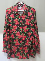 Sag Harbor shirt blouse size 14 L SILK black red pink green floral long sleeve