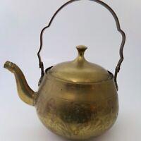 "Brass Vintage Tea-kettle Pot 8"" Etched Floral Pattern Mid-Eastern Asian Décor"