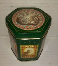 Vintage Enesco Hing Kong Small Cat Tin Box Lesley Anne Ivory Kitty 7 dif artwork