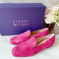 Stuart Weitzman Arky Womens Flat Driving Shoes Loafer Pink Suede US 6.5 M