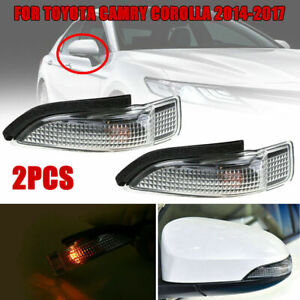 2Pc Set Car Side Mirror Turn Signal Light Lamps for Toyota Camry Corolla 2014-18