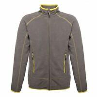 Regatta Ashmore Mens Full Zip Lightweight Fleece Jacket Seal Grey Yellow