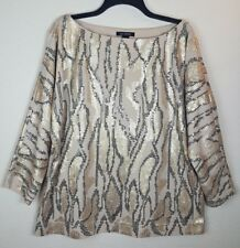 St John Womens Large L Sequin Beige Gold Black Blouse Evening Wear