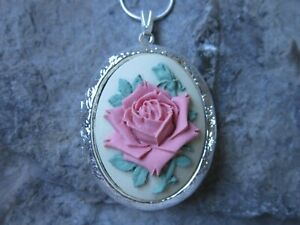 UNIQUE PINK ROSE ON CREAM CAMEO SILVER PLATED LOCKET - CHRISTMAS, WEDDING